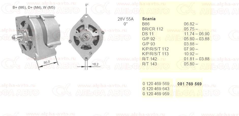 M 081769569 Генератор Scania 28V 55A