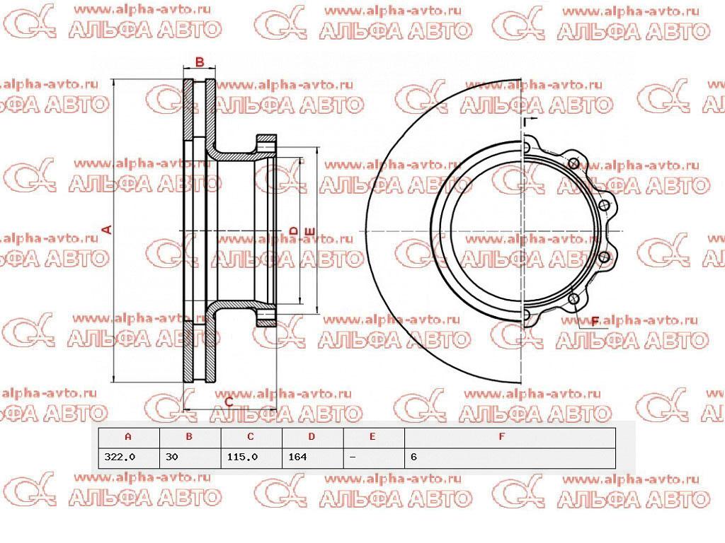 Marshall M2000009 Диск тормозной Volvo FL6 322х164х115/30 6n