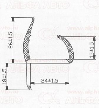 090400/08005/08014 Уплотнитель ворот и дверей резинопластиковый 24,5мм 5м